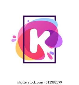 K letter logo in square frame at watercolor splash background. Vector typography for your posters, invitations, cards.