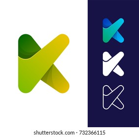 K letter logo template. Vector abstract material design style