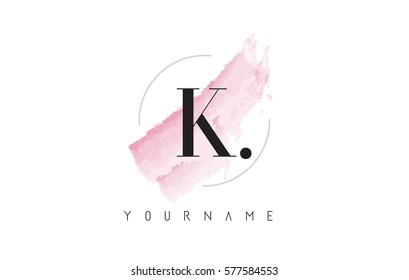 K Letter Logo with Watercolor Pastel Aquarella Brush Stroke and Circular Rounded Design.