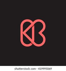 K letter love logo vector