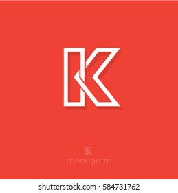 K letter. K monogram. Flat linear letter on a orange background.