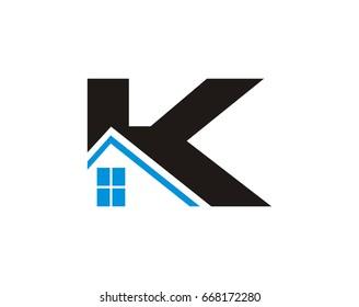 K letter Real Estate Roof  Construction  logo
