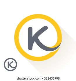K letter with round line logo. Abstract trendy letter multicolored vector design template elements for your application or corporate identity.