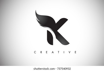 K Letter Wings Logo Design Icon. Flying Wing Letter Logo with Creative Black Wing Concept.