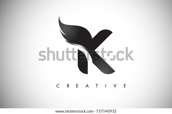 K Letter Wings Logo Design Icon Stock Vector Royalty Free