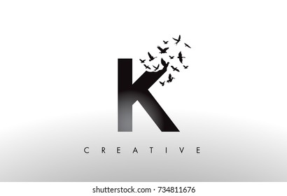 K Logo Letter with Flying Flock of Birds Disintegrating from the Letter. Bird Fly Letter Icon.