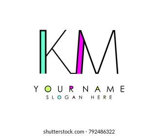 K & M initial minimalist logo template vector