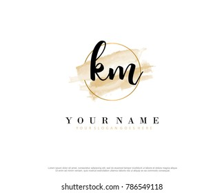 K M Initial water color logo template vector