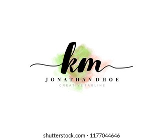K M Initial watercolor logo on white background. Logo template vector