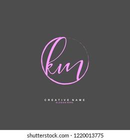 K M KM Initial logo template vector
