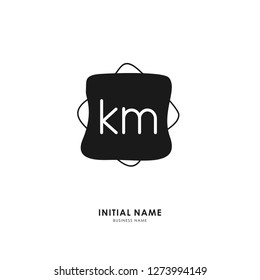 K M KM Initial logo letter with minimalist concept. Vector with scandinavian style logo.