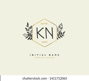 K N KN Beauty vector initial logo, handwriting logo of initial wedding, fashion, jewerly, heraldic, boutique, floral and botanical with creative template for any company or business.
