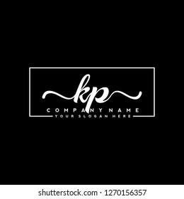 K P Initial handwriting logo vector