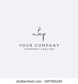 a k p initial handwriting logo template