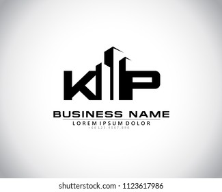 K P Initial logo concept with building template vector.
