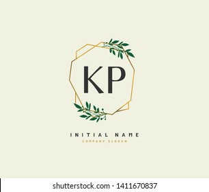 K P KP Beauty vector initial logo, handwriting logo of initial wedding, fashion, jewerly, heraldic, boutique, floral and botanical with creative template for any company or business.