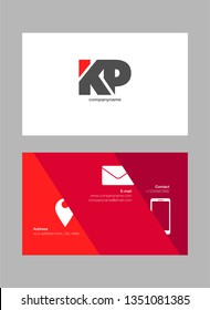 K & P letters Joint logo icon with business card vector template.