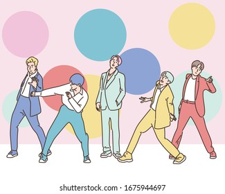 The k pop boy group on the stage poses variously. hand drawn style vector design illustrations.