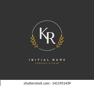 K R KR Beauty vector initial logo, handwriting logo of initial wedding, fashion, jewerly, heraldic, boutique, floral and botanical with creative template for any company or business.