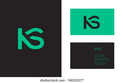 K S double letter logo design with business card template
