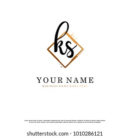 K S Initial abstract logo template vector
