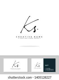 K S KS initial handwriting logo template vector.  signature logo concept