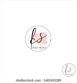 K S KS Initial letter handwriting and signature logo.