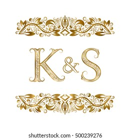 K and S vintage initials logo symbol. The letters are surrounded by ornamental elements. Wedding or business partners monogram in royal style.