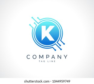K Technology Circuit Alphabet. Logo. Simple, modern, futuristic. With Blue Gradation Color.