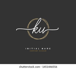 K U KU Beauty vector initial logo, handwriting logo of initial signature, wedding, fashion, jewerly, boutique, floral and botanical with creative template for any company or business.