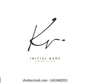 K V KV Beauty vector initial logo, handwriting logo of initial signature, wedding, fashion, jewerly, boutique, floral and botanical with creative template for any company or business.