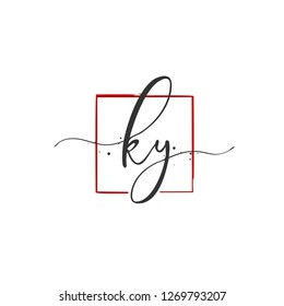 K Y KY Initial letter handwriting and  signature logo.