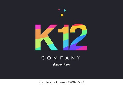 K12 k 12 twelve letter number combination creative color green orange blue magenta pink company logo vector icon spectrum