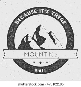 K2 in Karakoram, Pakistan outdoor adventure logo. Round climbing vector insignia. Climbing, trekking, hiking, mountaineering and other extreme activities logo template.