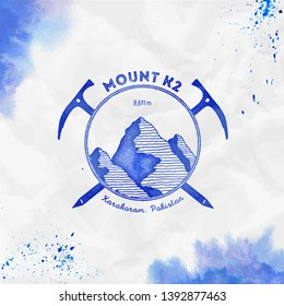K2 logo. Climbing mountain blue vector insignia. K2 in Karakoram, Pakistan outdoor adventure illustration. Climbing, trekking, hiking, mountaineering and other extreme activities logo template.