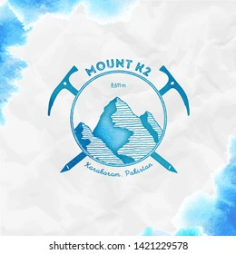 K2 logo. Climbing mountain turquoise vector insignia. K2 in Karakoram, Pakistan outdoor adventure illustration. Climbing, trekking, hiking, mountaineering and other extreme activities logo template.