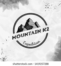 K2 logo. Round expedition black vector insignia. K2 in Karakoram, Pakistan outdoor adventure illustration. Climbing, trekking, hiking, mountaineering and other extreme activities logo template.