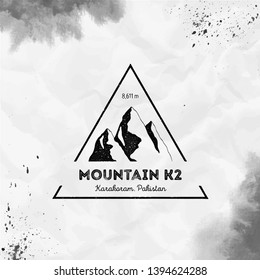 K2 logo. Triangular mountain black vector insignia. K2 in Karakoram, Pakistan outdoor adventure illustration. Climbing, trekking, hiking, mountaineering and other extreme activities logo template.