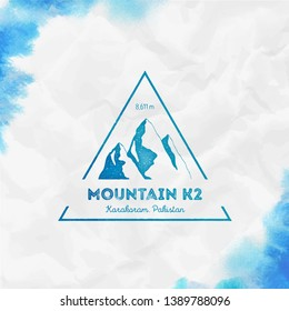 K2 logo. Triangular mountain turquoise vector insignia. K2 in Karakoram, Pakistan outdoor adventure illustration. Climbing, trekking, hiking, mountaineering and other extreme activities logo template.