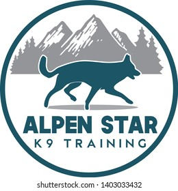K9 Dog Training Logo with nature background such as mountains and forest