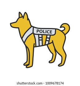 K9 police dog color icon. German shepherd. Military dog breed. Isolated vector illustration