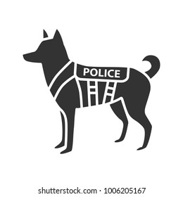 K9 police dog glyph icon. German shepherd. Military dog breed. Silhouette symbol. Negative space. Vector isolated illustration