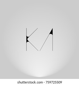 KA Black thin minimalist LOGO Design with Highlight on Gray background.