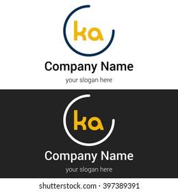 KA business logo icon design template elements. Vector color sign.