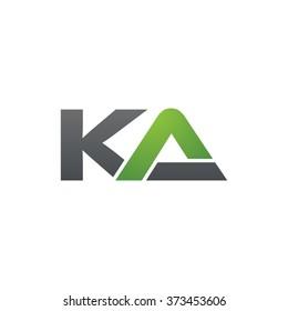 KA company linked letter logo black green