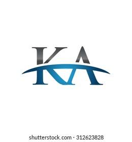 KA initial company blue swoosh logo