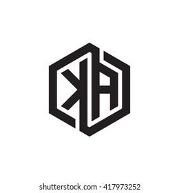 KA initial letters looping linked hexagon monogram logo