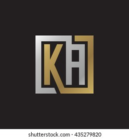 KA initial letters looping linked square elegant logo golden silver black background