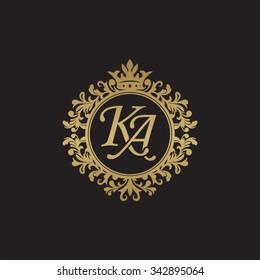 KA initial luxury ornament monogram logo
