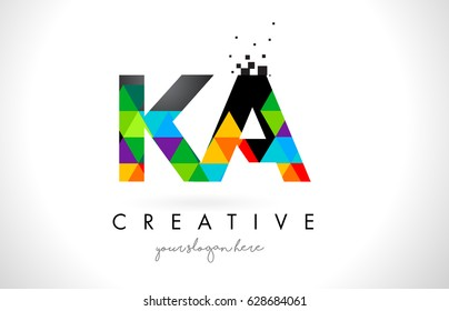 KA K A Letter Logo with Colorful Vivid Triangles Texture Design Vector Illustration.